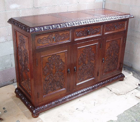 Isabellina Hand Tooled Leather and Wood Buffet