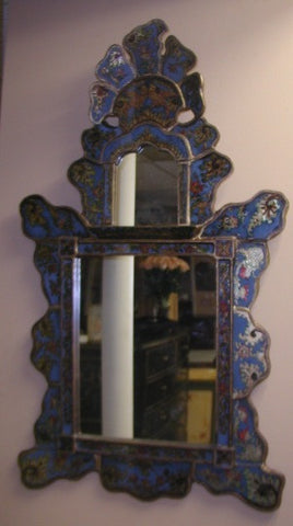 Reverse Painted Glass Isabellina Mirror - Blue