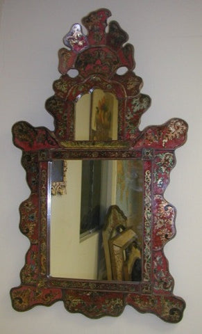 Reverse Painted Glass Isabellina Mirror - Red