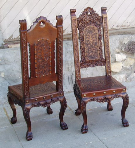hand tooled leather renaissance chair