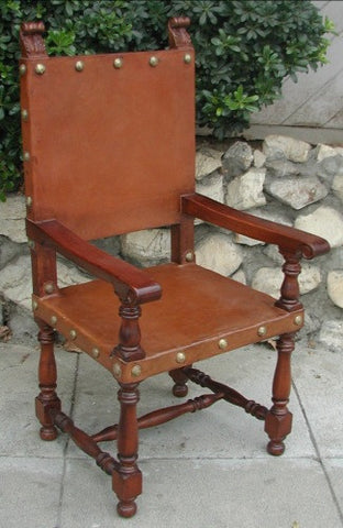 hand made leather Italian friar or Frailera chair chair