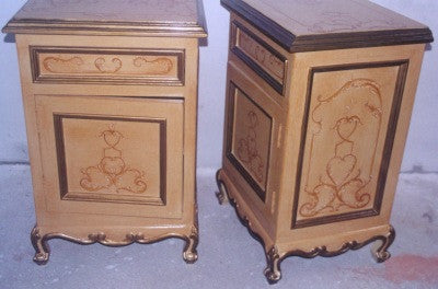 Hand Painted Nightstand with scrolls
