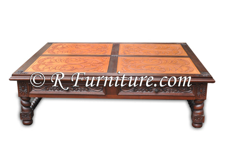 Italianate Coffee Table with Hand Carved leather panels