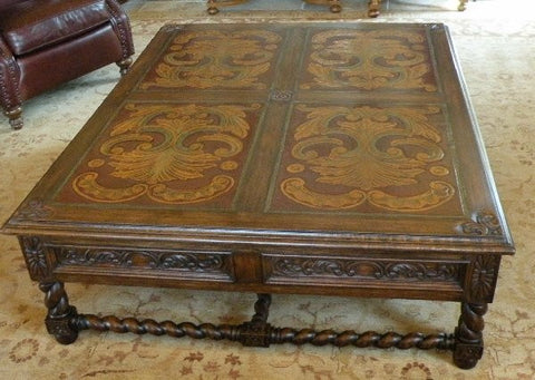 Italianate Coffee Table with Hand Carved leather panels and polychrome.