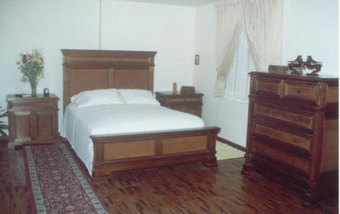 Santa Barbara Bed, Leather Panel Bed