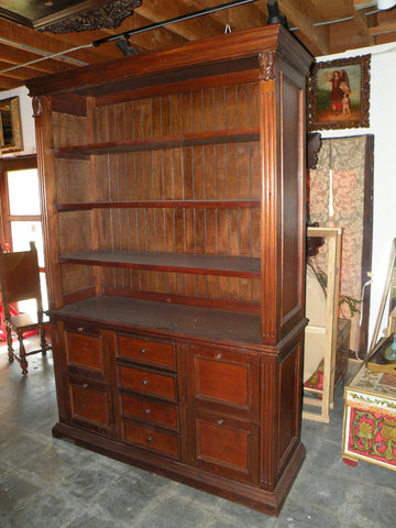 Leather Bookcase with file drawers