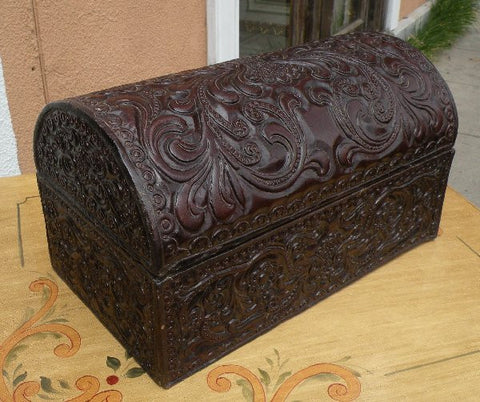 Hand Tooled Leather Box - Dark