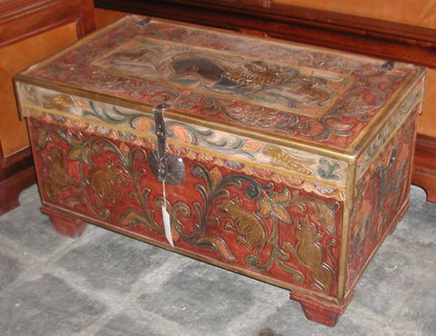 Leather Spanish Style Trunk in Polychrome finish