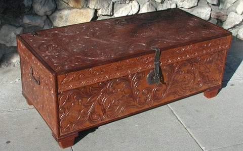 Hand Tooled Leather trunk
