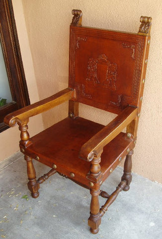 hand tooled leather italian friar chair