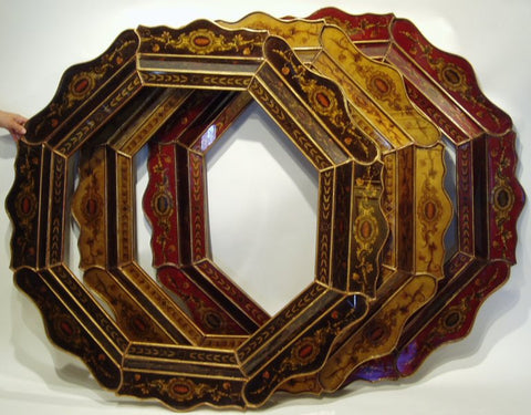 reverse painted glass mirror made in Peru