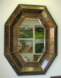 Mirror, Reverse Painted glass, 3 panel Gold