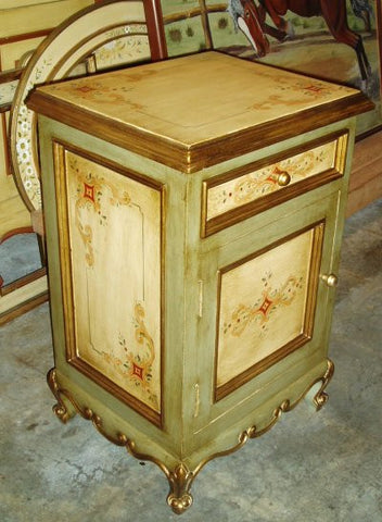 Handpainted nightstand and Olinda Romani's Spanish colonial design made in Peru