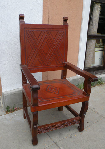 hand tooled leather spanish colonial armchair in Nazca design