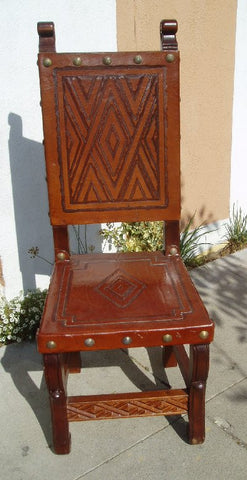 hand tooled leather spanish colonial side chair in Nazca design