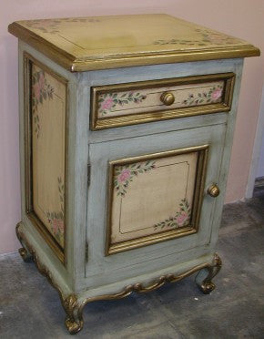 Nightstand, Pink Roses with Sage Green