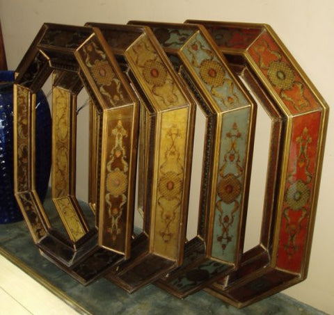 Reverse Painted Glass Octagonal Mirrors