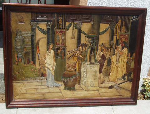 Old World painting on hand carved leather