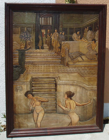 Old World painting on hand carved leather.