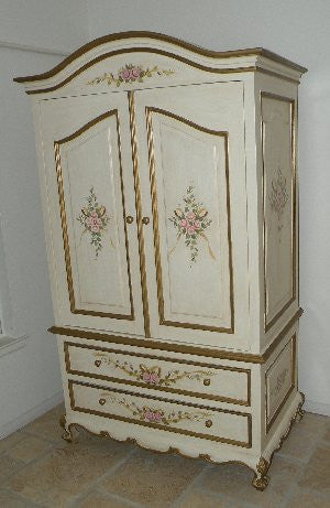 French Armoire Roses and Ribbon