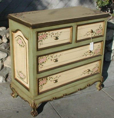 Pink rose dresser r furniture by olinda romani lance for Hand painted furniture