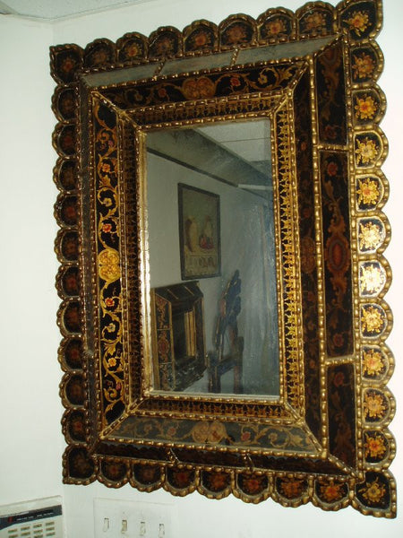 Mirror Reverse Painted Glass In Black Moroccan Decor