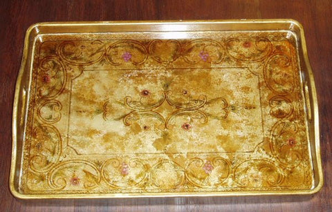 reverse painted glass tray in gold