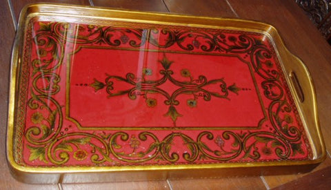 reverse painted glass tray