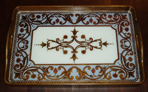 reverse painted glass tray in white with gold scrolls