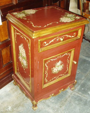 Nightstand Red w/ Flowers