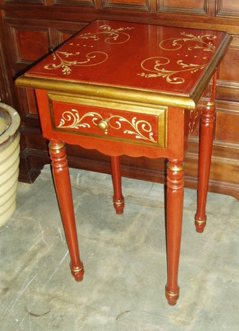 End Table, Red w/ Gold Scrolls