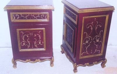 Red Nightstand with Gold Scrolls