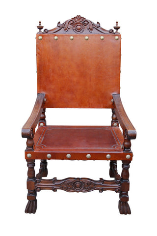 spanish renaissance chair, castle throne chair, hearst castle chair style