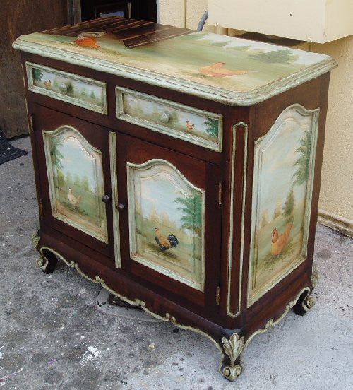 Painted Buffet With Roosters 2 R Furniture By Olinda