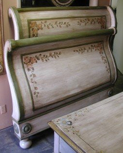 Sleigh Bed - Antique Roses
