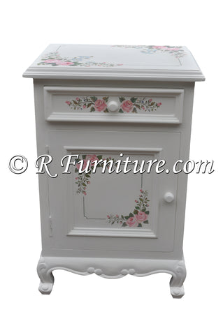 Nightstand, White with Pink Roses