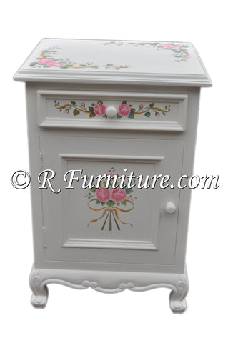 Nightstand, White with Pink Roses and Ribbon