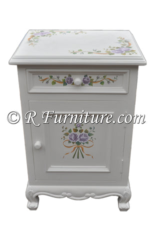 Nightstand, White with Lavender Roses and Ribbon