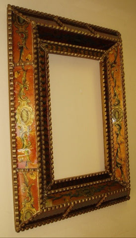 Rust Red Reverse Painted Glass Mirror