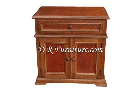 Santa Barbara Night Stand, Leather Panel Night Stand, Chestnut
