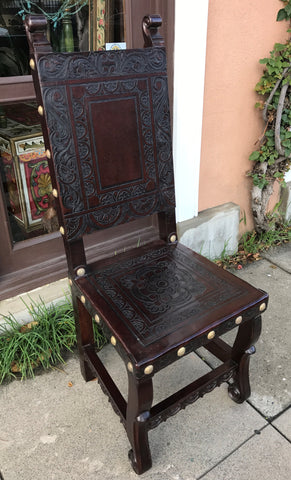 Spanish Colonial Chair - Ayacucho design, dark walnut