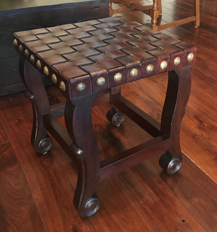 Spanish Colonial Stool - Dark Walnut