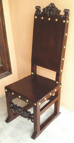 Spanish Friar Dining Leather Side Chair