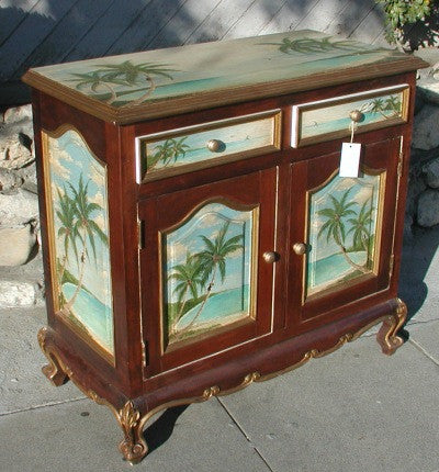 Tropical Painted Buffet with Monkeys and Palm Trees