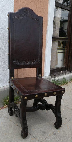 Valencia Dining Leather Side Chair with carving