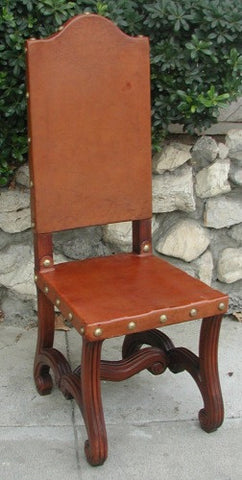 Valencia Dining Leather Side Chair, Chestnut