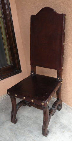 handmade leather Valencia side chair