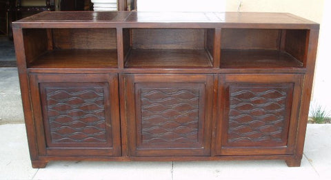 Leather Media Credenza Waves