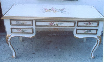 White Desk with Floral