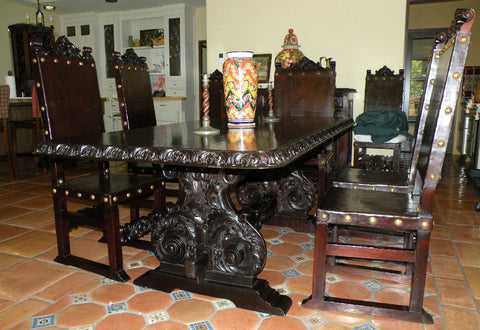 isabellina dining table, hand carved wood